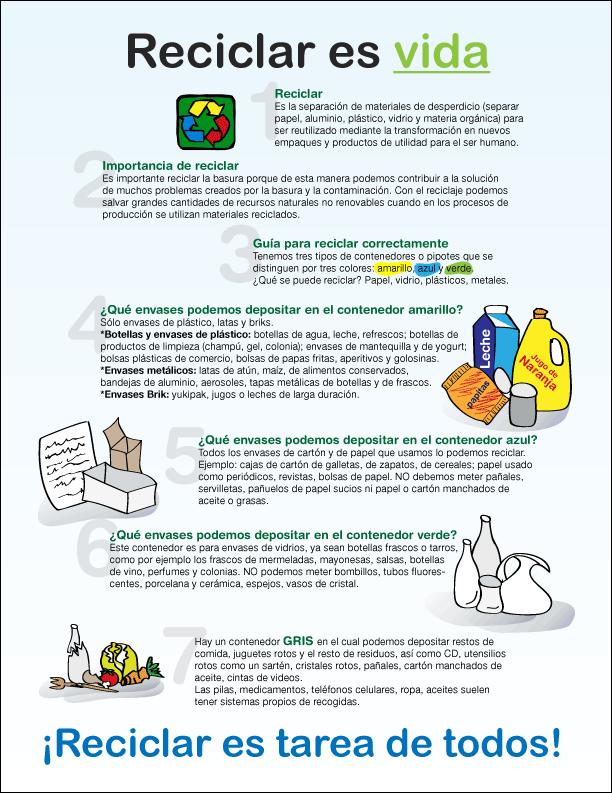 Volante que resalta la importancia del reciclaje